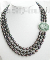 >>> >>>21 23 natural peacock black pearls necklace cameo cla
