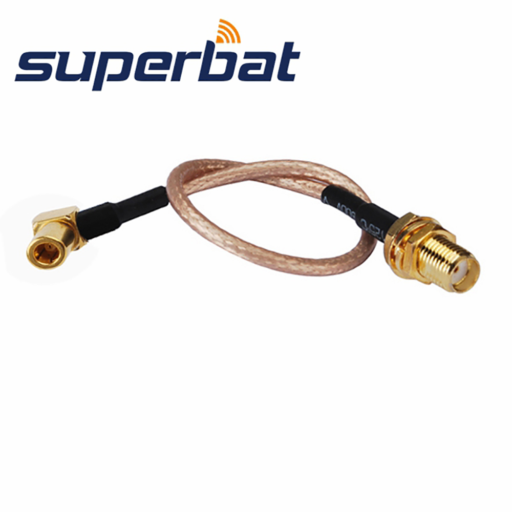 Superbat High Lift SMA Female Jack To SMB Male Plug Right Angle Jumper 3.5mm Cable RG316 15cm For Wireless Extension Cord
