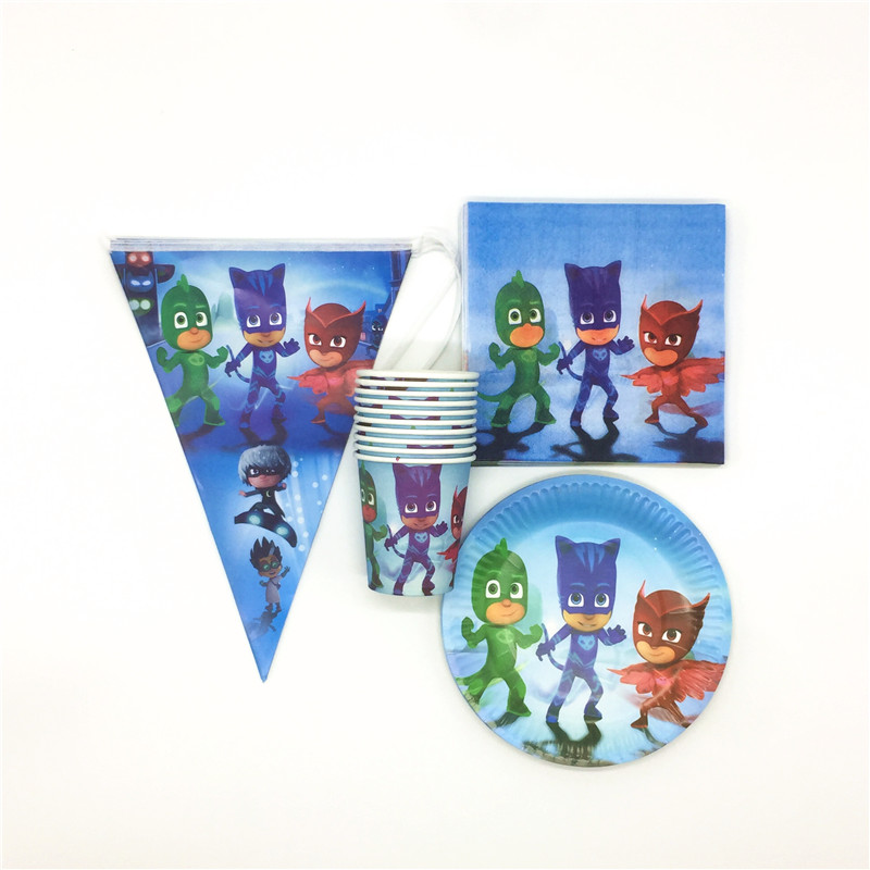 Pj Masks Cartoon 50pcs/lot Baby Shower Tablecloth Birthday Party Kids Favors Cups Plates Paw Decoration Banner Napkins Supplies