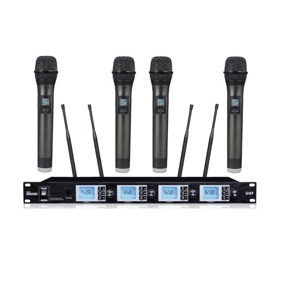 bolymic 4 channels wireless microphone system professional uhf stage handheld wireless. Black Bedroom Furniture Sets. Home Design Ideas