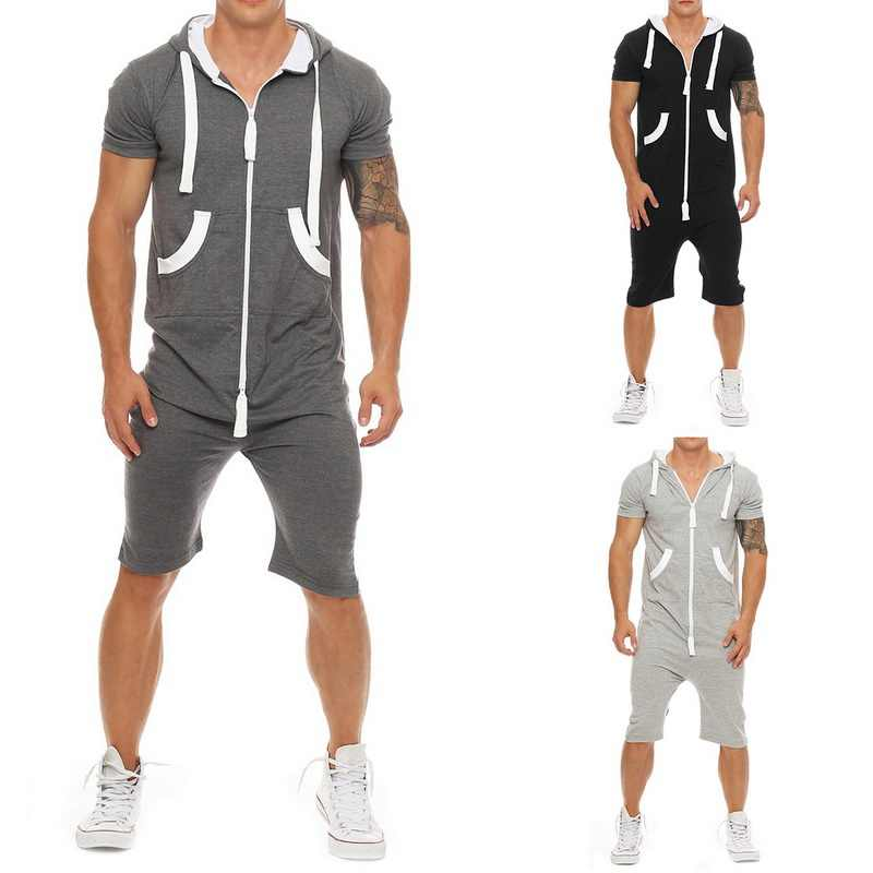Tracksuit Mens Jumpsuit Overalls Summer Casual Short Sleeve Hoody pullovers Mens Zipper Sportwear Overalls Shorts Romper suit