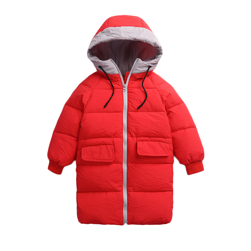 DEXIA Children Autumn and Winter Long Down Jacket High Quality Kids Hooded Long Cotton Solid Winproof Winter Outwear & Coats winter men jacket new brand high quality candy color warmth mens jackets and coats thick parka men outwear xxxl