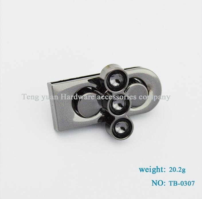 (10 PCS/lot) Metal Plating Processing Leather Handbags Fine Spinning Twist Lock Decorative Accessories