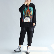 Large size printed Maternity sweater autumn and winter fashion novelty hooded women's clothing