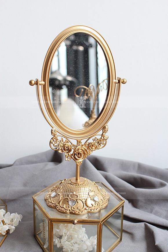 Hight Quality Vintage Golden Resin Increase Zinc Alloy Platform Vanity Mirror Mirror Function Exhibition Display Drop