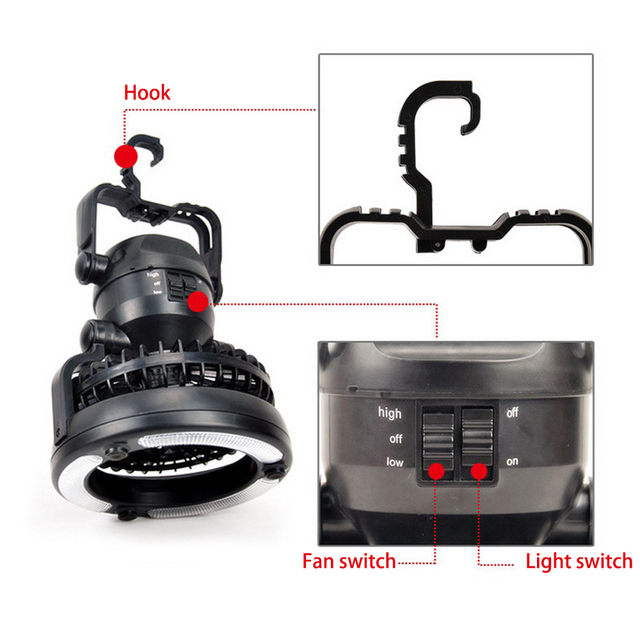 2 In 1 Portable LED Camping Lantern With  18 LED Flashlight Ceiling Fan For Outdoor Hiking Fishing Outages And Emergencies Tent 4