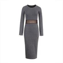 Work Gray Burgundy Black Mesh See-Through Patchwork Mid-Calf Sexy Dress Bodycon Dress