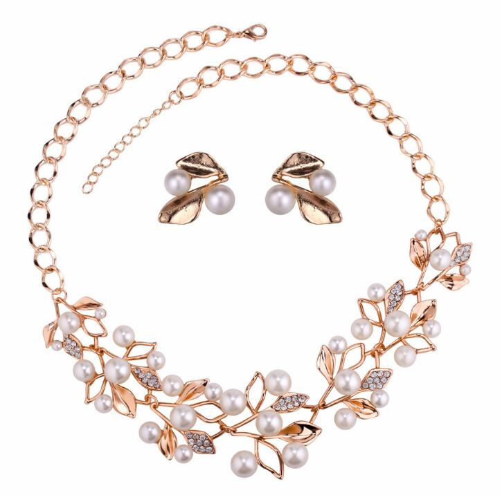 Poem snow Fashion inlaid false pearl leaf jewelry suit