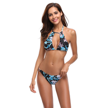 New Sexy Black Floral Print Bikini Women Swimsuit Backless Halter Bathing Suit S-XL Girl Thong Bikini Low Waist Micro Bikini Set sexy halter neck ethnic print striped women s bikini set