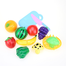 цена на 12Pcs/Set Plastic Fruit Vegetables Cutting Toy Early Development and Education Toy for Baby kids Kitchen toys Plastic food toy
