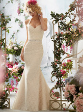 Free Shipping 2014 Wonderful Wholesale Price Formal Gown Fishtail Halter Neck Custom Made Lace Wedding Dress With Sash ML005