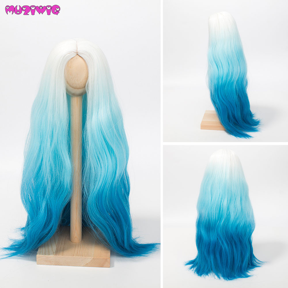 1/3 1/4 1/6 Scale Doll Hair Wigs High Temperature Synthetic Wire White Blue Ombre Color Wigs for BJD SD Dolls 1/3 1/4 1/6 Scale Doll Hair Wigs High Temperature Synthetic Wire White Blue Ombre Color Wigs for BJD SD Dolls