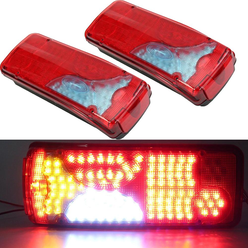 1 Pair 24V Car LED Rear Taillights 120 LEDs Brake Lights for Truck Trailer Caravan Rear Back Light Waterproof