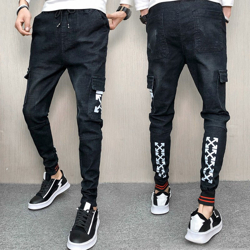 New stretch jeans, men's and Korean versions body trim leggings social spirits boys pants students leggings jeans men