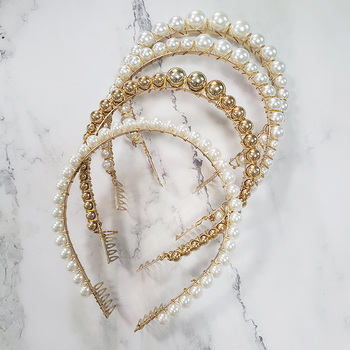 JUJIA Korea Gold Silvery Colour Simulated Pearl Hairbands for Women Hair Jewelry 1