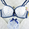Adorável Senhora Meninas Coração Impressão Reunir Sutiã + Calcinha Empurrar Para Cima Conjuntos de Sutiã Acolchoado 32-36B