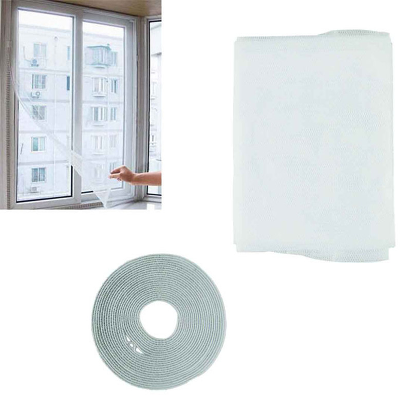 New Velcro Curtains White Insect Fly Mosquito Window Net Netting Mesh  Screen New Curtains Sep14(