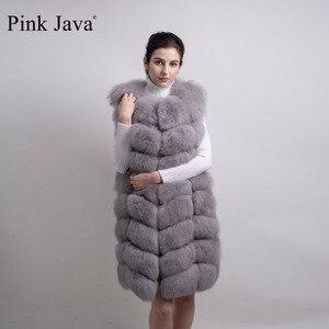 Image 3 - pink java QC8032 women coat winter luxury fur jacket real fox fur vest long vest natural fox gilet hot sale  high quality