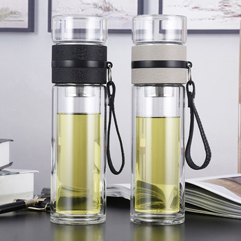 500ML Glass Water bottles for dink tea with infuser  Double Wall Bottle for water brief Portable outdoor ST195 office business glass water bottle portable double wall glass tea bottle with tea infuser creative transparent glass gift bottle