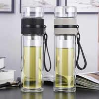 500ML bottiglie di Acqua di Vetro per dink tè con infusore Doppia Parete Bottiglia per acqua breve Portatile all'aperto ST195