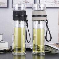 Garrafas de água de vidro 500ml para o chá dink com a garrafa dobro da parede do infuser para a água breve st195 ao ar livre portátil