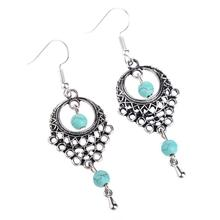 Bohemian Women Turquoise Dangle Earrings Fashion Jewelry Antique Silver Plated Turquoise Drop Dangle Brincos Earrings for Women faux turquoise feather drop earrings