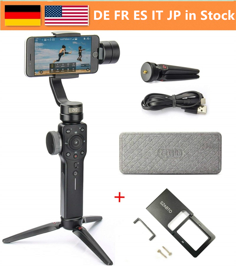 Zhiyun Smooth 4 3-Axis Handheld Gimbal Stabilizer w/Focus Pull & Zoom for iPhone Xs Max Xr X 8 Plus 7 6 SE Android Smartphone for iphone xs max xr xs x selfie stick for iphone x 8 7 6 6s plus 5 5s wired selfie stick extendable monopod for lightning