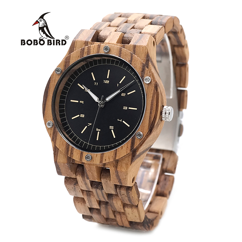 лучшая цена BOBO BIRD WN12 Wooden Watches Mens Brand Luxury Zebra Wood Band Quartz Watch in Wooden Gift Box