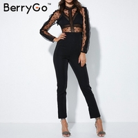 BerryGo Transparent lace women jumpsuits rompers O neck backless long sleeve sexy jumpsuit Hollow out high waist black overalls