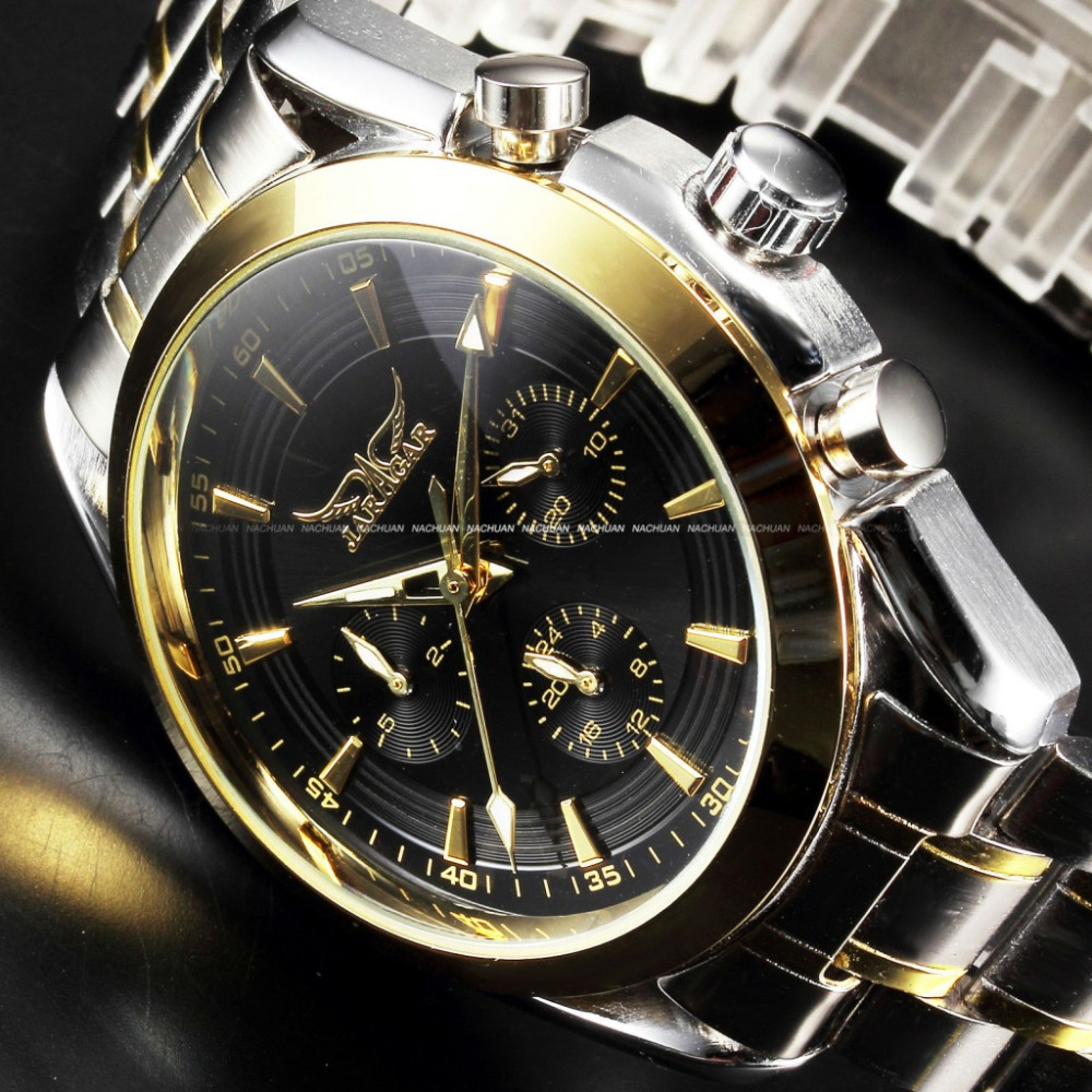 Jaragar Luxury Brand 3 Dials Date Mens Mechanical Watch Stainless Steel Golden Business Clock Man Sports Wrist relogio masculino