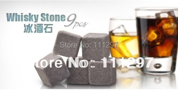 9pcs/set,Whisky stones with velvet bag whiskey rock stone Great gift Freeshipping+Wholesale