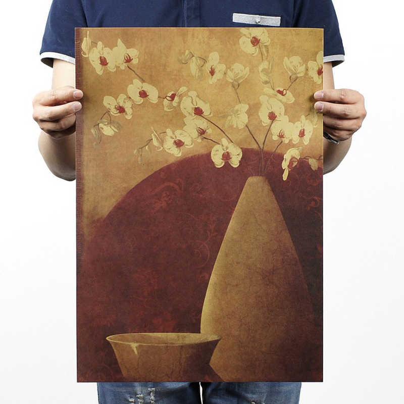 Бесплатная доставка, ручной ничья ваза D Стиль/крафт-бумага/Бар плакат/Ретро плакат/декоративной живописи 51x35.5 см