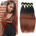 Ombre Перуанский Прямые Волосы 3 пучки темно-коричневый Ломбер Выдвижение Человеческих Волос 1B #33 человеческих Волос Weave Пучки Hanne красочные волос