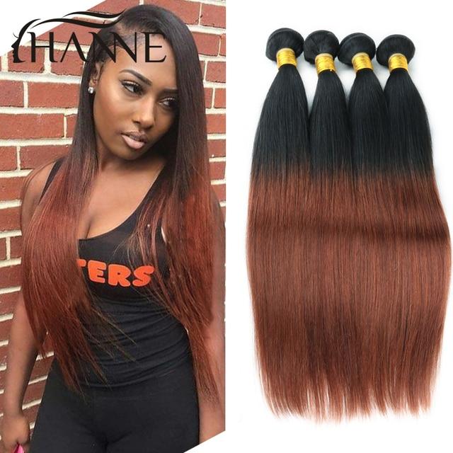 Ombre Peruvian Straight Hair 3 Bundles Dark Brown Ombre Human Hair