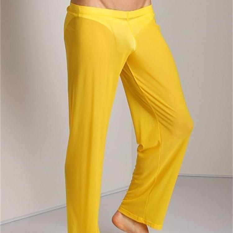 Men's Casual Pajama Bottoms Cueca Trousers Mens Sheer Panties Sexy Mesh Sleepwear See Through Sleep Long Bottoms Loose Lounge