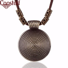 Cool Rock Pendant Genuine Leather Long Chain Necklace