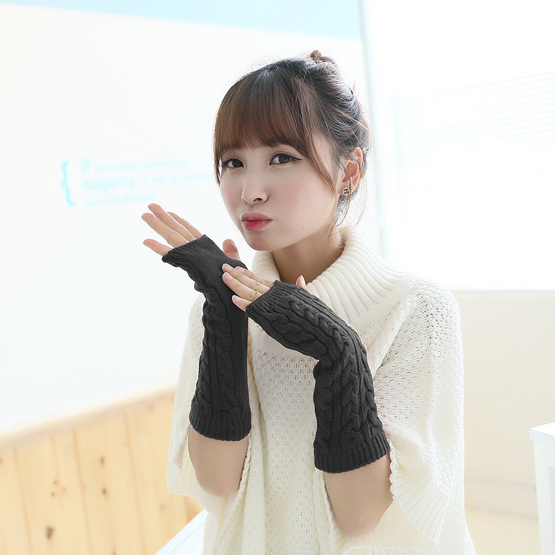 Solid Color Hand Knitted Women's Gloves Middle Length Wrist Arm Warmer Winter Fingerless Mitten Dropship