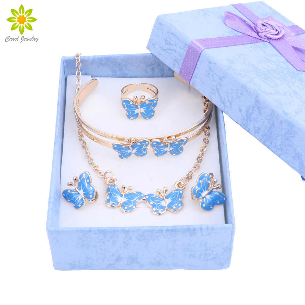 Lovely butterfly Children Jewelry Baby Jewelry Sets Kids Necklace Bracelet Earrings Ring Set + Gift Boxes