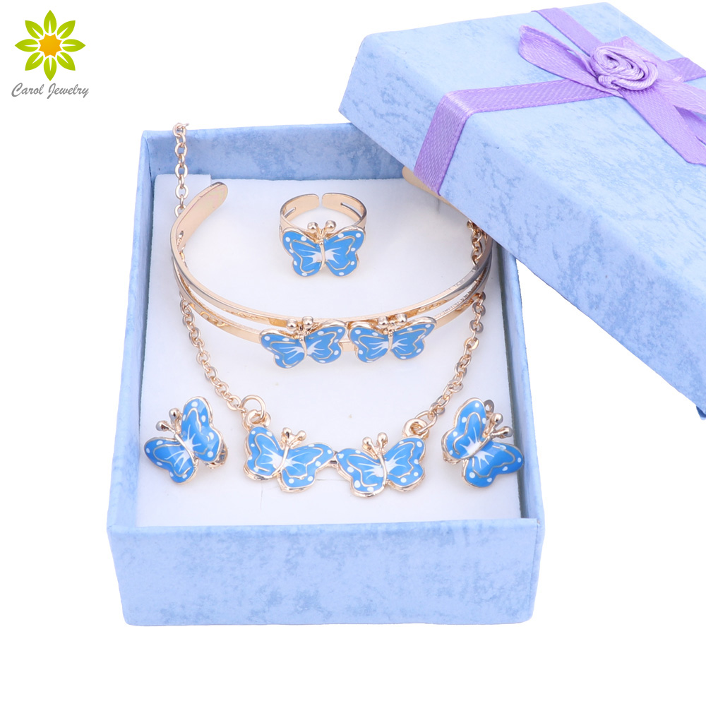 Lovely butterfly Children Jewelry Baby Jewelry Sets Kids Necklace Bracelet Earrings Ring Set + Gift Boxes товары для женщин lovely jewelry