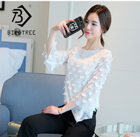 Women White Black Mesh Appliques Blouse Long Sleeve Flare Sleeve O Neck Shirt Fashion Female Butterfly