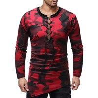 New men fashion camouflage chest tether neckline irregular skirt long sleeve T shirt harajuku mens clothing men clothes 2018
