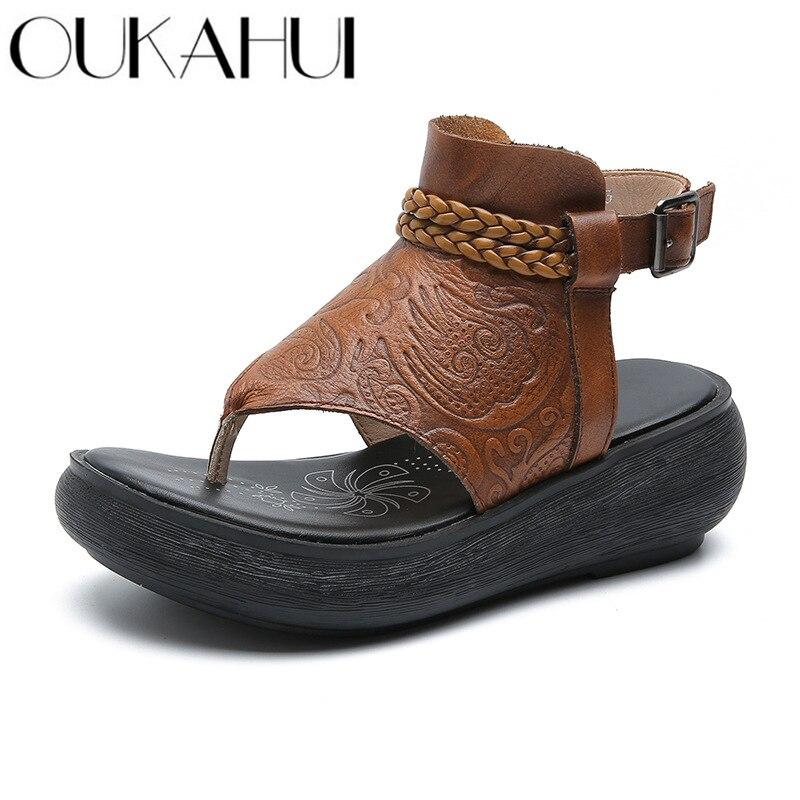 OUKAHUI haute qualité 2019 été en cuir véritable Vintage tongs sandales femmes plate-forme boucle plage sandales femmes chaussures