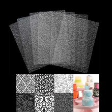 6pcs Plastic Cake Biscuit Stencil Fondant Mold Texture Mat Decorating Tools Cookie Embossing Pad