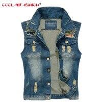 Men Denim Vest Hole Sleeveless Jean Jacket Ripped Casual Male Plus Size M 5XL Jeans Waistcoat