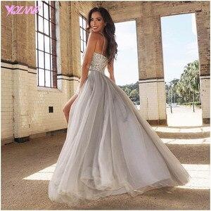 Image 2 - YQLNNE 2018 Silver Rhinestones Long Prom Dresses Evening Party Dress Straps Tulle Crystals Beaded Vestido De Festa