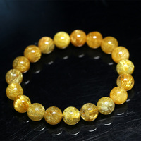 Natural Genuine Clear Yellow Gold Hair Rutile Quartz Stretch Men's Bracelet Round Beads 10mm