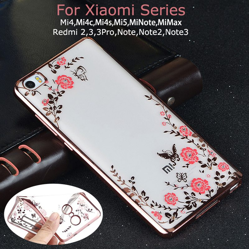 Luxury Flower Diamond TPU Case For Xiaomi Mi 6 5S Plus 5C 5 4S 4C 4I Mi5S Mi5 Max Redmi 4 Prime 4A Note 4 4X 3 2 Pro 3S 3X Cover
