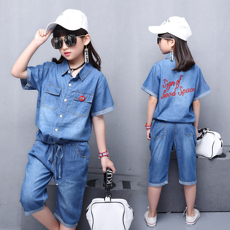 2018 Summer girls Fashion Denim Clothing Set Children Casual Kids Sports Suit Kids Lapel Washed Clothes Tops+Seven Minute pants