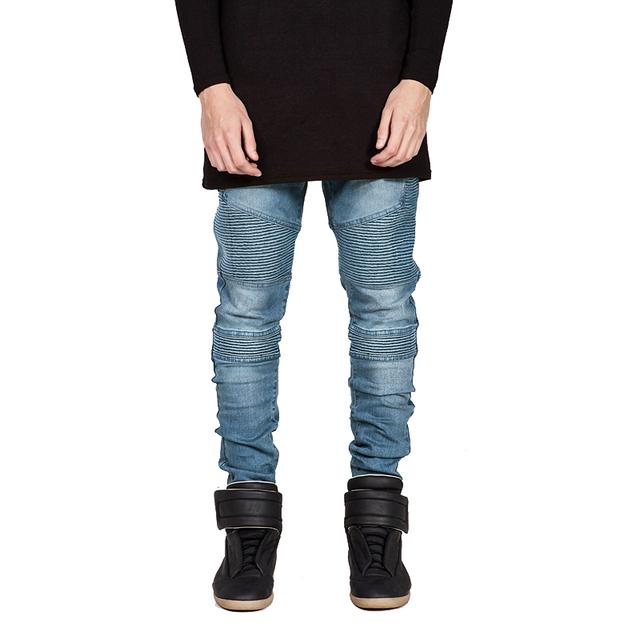 HEFLASHOR Fashion Fold Jeans Men Slim  Elastic Jeans  Streetwear Trousers Fashion Hip Hop Skinny Jeans For Male