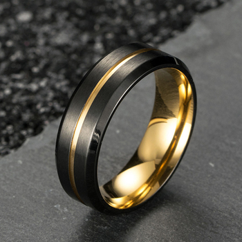 Titanium Black Brushed Effect Ring With Gold Centre Groove & Lining 1